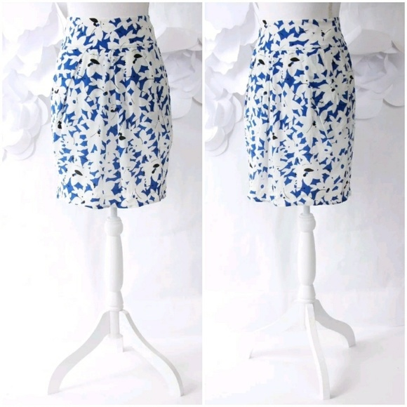 90617aa3e6 Anthropologie Skirts | Pleated Floral Skirt Pockets 2 Blue | Poshmark
